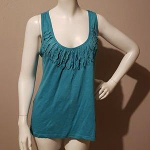 Banana Republic Tank Blouse Teal Size M Fringe